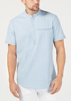 INC I.n.c. Men's Half-Button Chambray Shirt, Created for Macy's