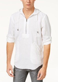 INC I.n.c. Men's Half-Zip Linen-Blend Hoodie, Created for Macy's