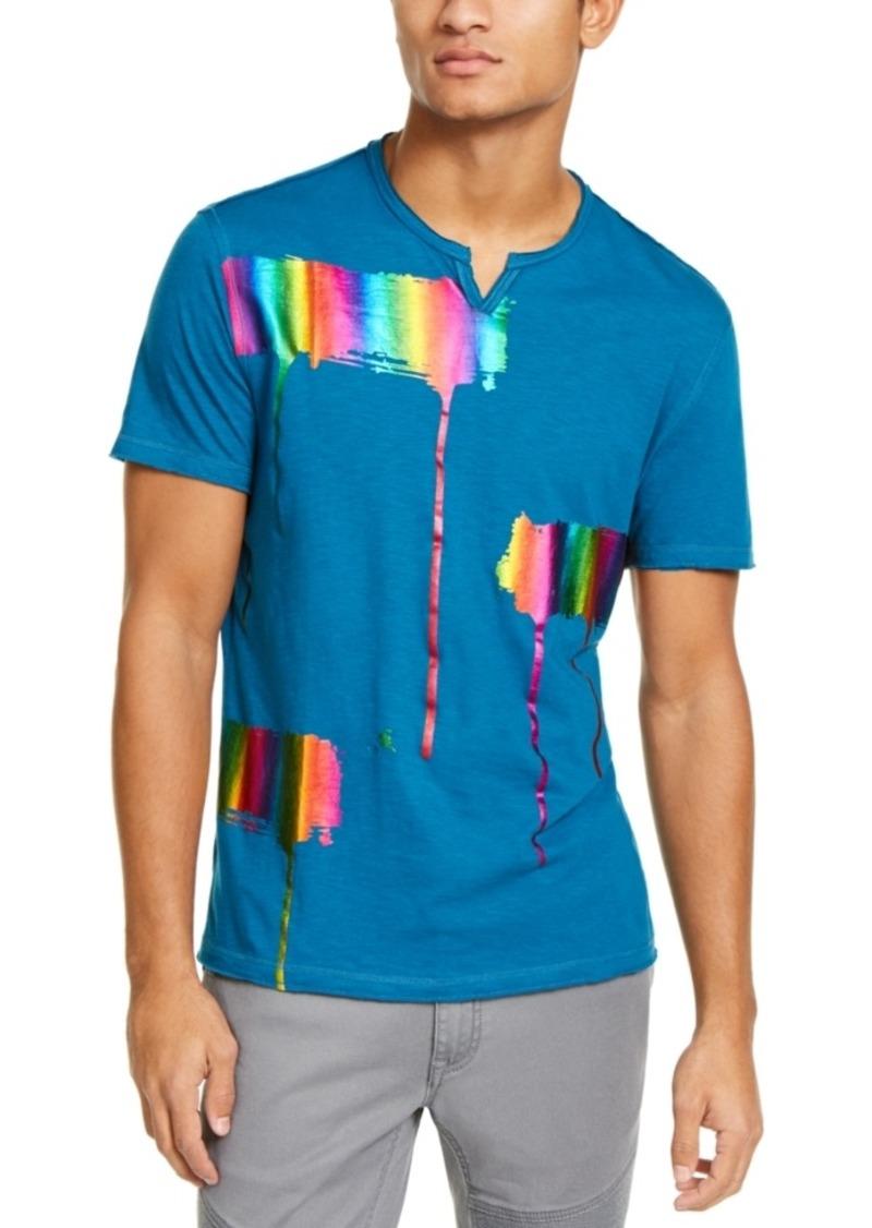 Inc Men's Iridescent Brushstroke Graphic Split-Neck T-Shirt, Created For Macy's