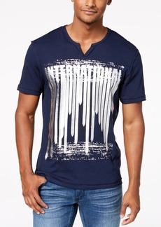 INC I.n.c. Men's Metallic Graphic Split-Neck T-Shirt, Created for Macy's