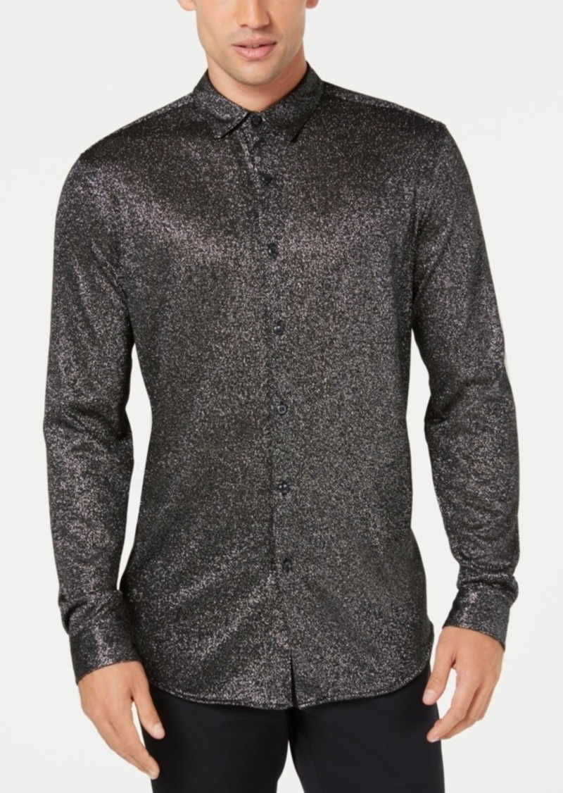 INC I.n.c. Men's Metallic-Knit Shirt, Created for Macy's