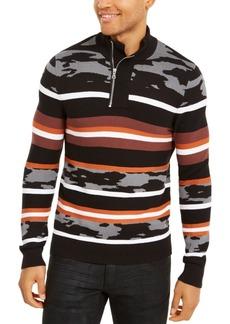 Inc Men's Multi-Pattern Quarter-Zip Sweater, Created For Macy's