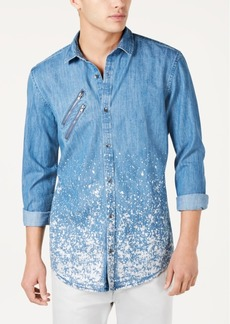 INC I.n.c. Men's Paint Splatter Denim Shirt, Created for Macy's