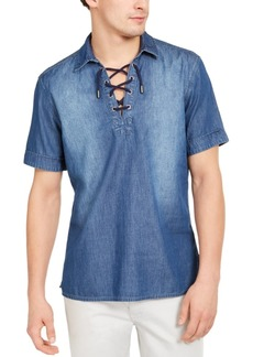 Inc Men's Regular-Fit Lace-Up Denim Shirt, Created for Macy's