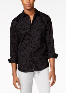 INC I.n.c. Men's Scribble Flocked Pattern Shirt, Created for Macy's