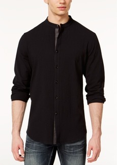 INC I.n.c. Men's Seersucker Band-Collar Shirt, Created for Macy's