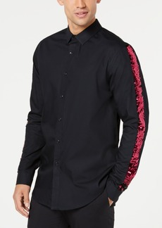 INC I.n.c. Men's Sequined Striped-Sleeve Shirt, Created for Macy's