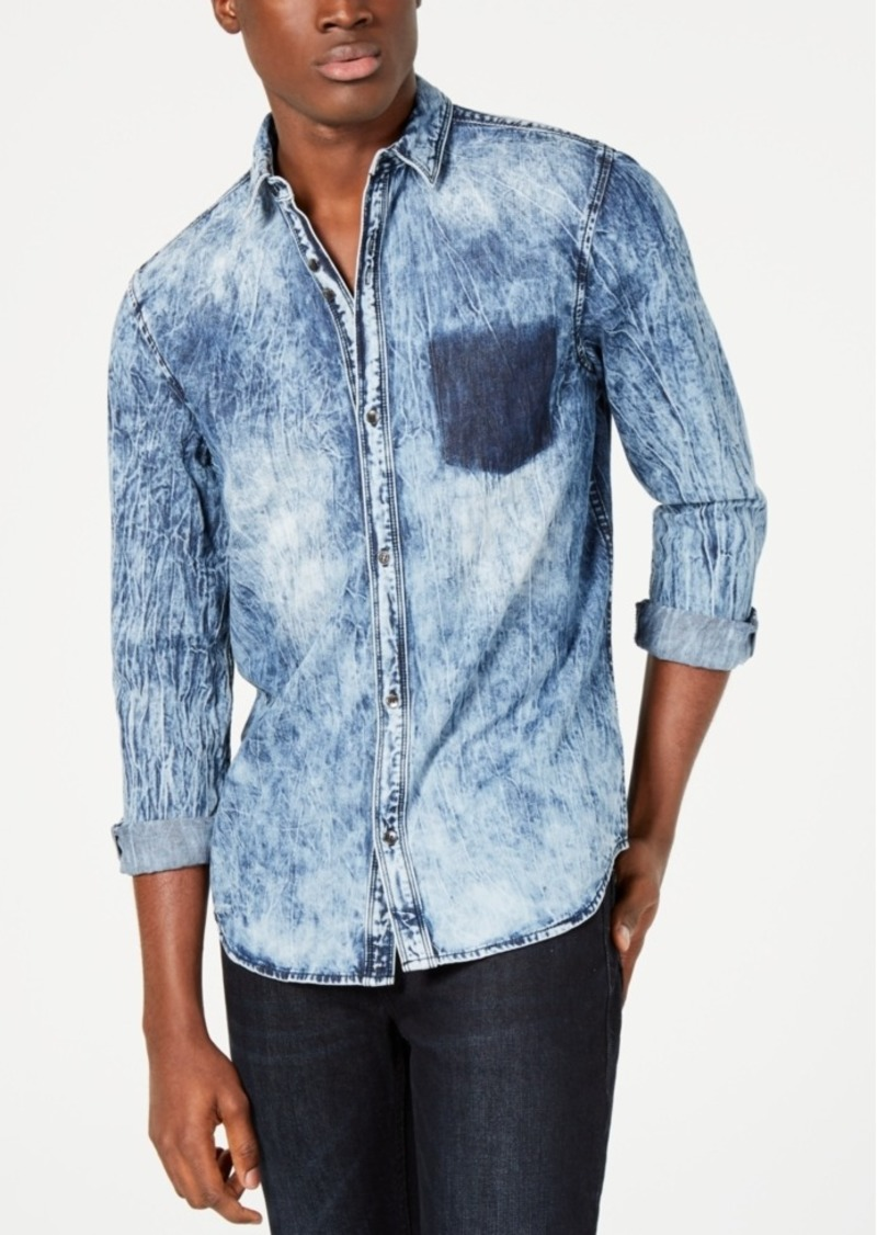 INC I.n.c. Men's Shadow Pocket Distressed Shirt, Created for Macy's