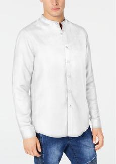 INC I.n.c. Men's Side Linen Stripe Band-Collar Shirt, Created for Macy's