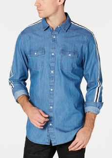 INC I.n.c. Men's Side Stripe Chambray Shirt, Created for Macy's
