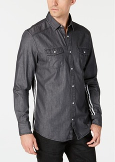 INC I.n.c. Men's Side Stripe Dark Chambray Shirt, Created for Macy's