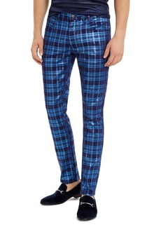 INC I.n.c. Men's Skinny-Fit Stretch Plaid Jeans, Created For Macy's