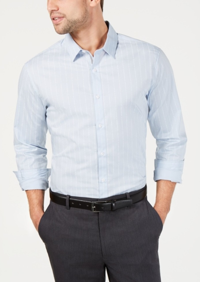 INC I.n.c. Men's Slim Fit Bloom Text-Stripe Shirt, Created for Macy's