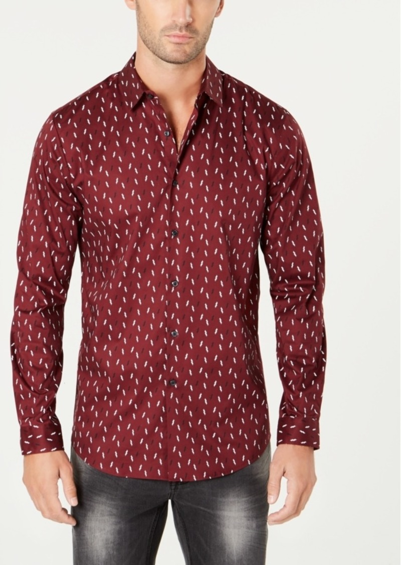 INC I.n.c. Men's Slim-Fit Ditsy Lightning Bolt Long Sleeve Shirt, Created for Macy's
