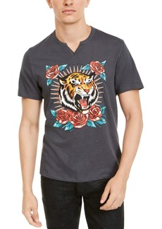 Inc Men's Split-Neck Tiger T-Shirt, Created For Macy's