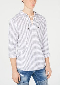 INC I.n.c. Men's Stripe Lace-Up Hooded Shirt, Created for Macy's