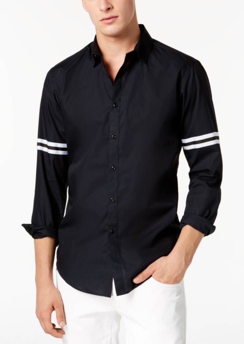 INC I.n.c. Men's Striped-Sleeve Button Down Shirt, Created for Macy's