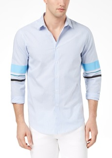 INC I.n.c. Men's Striped Track Sleeve Shirt, Created for Macy's