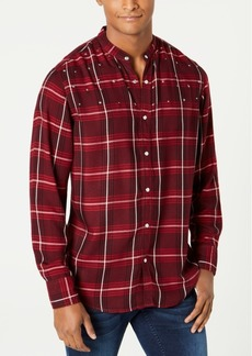 INC I.n.c. Men's Studded Windowpane Shirt, Created for Macy's