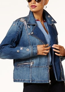 Anna Sui Loves Inc International Concepts Embellished Denim Moto Jacket, Created for Macy's