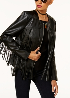 Anna Sui Loves Inc International Concepts Leather-Fringe Jacket, Created for Macy's