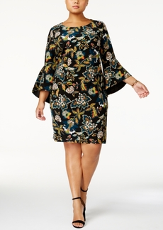 Anna Sui Loves Inc International Concepts Plus Size Bell-Sleeve Sheath Dress, Created for Macy's