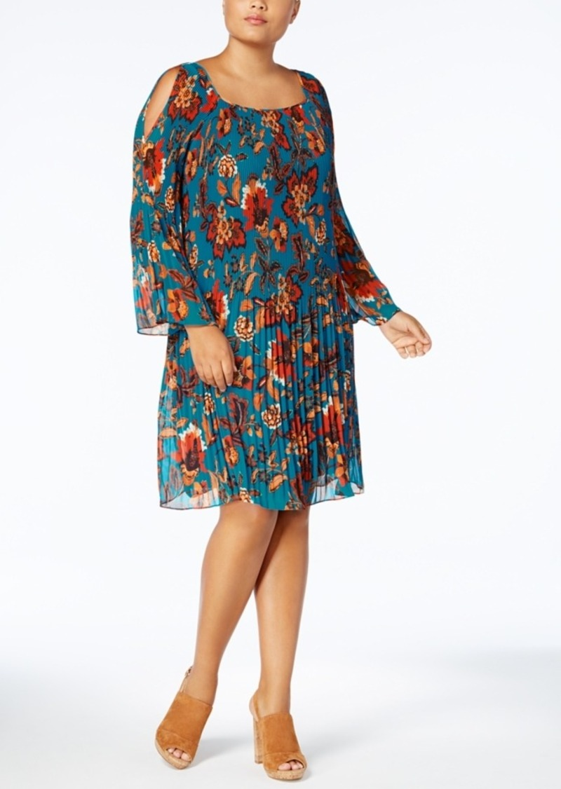 INC International Concepts Anna Sui Loves I.n.c. Plus Size Pleated Cold-Shoulder Dress, Created for Macy's