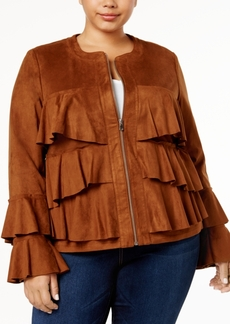 Anna Sui Loves Inc International Concepts Plus Size Ruffled Faux-Suede Jacket, Created for Macy's