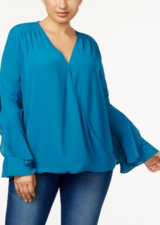 Anna Sui Loves Inc International Concepts Plus Size Ruffled-Sleeve Blouse, Created for Macy's