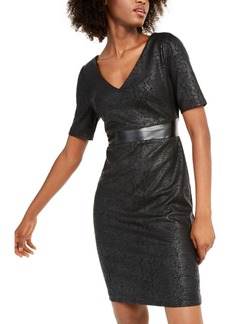INC International Concepts Inc Animal-Print & Faux-Leather Sheath Dress, Created For Macy's
