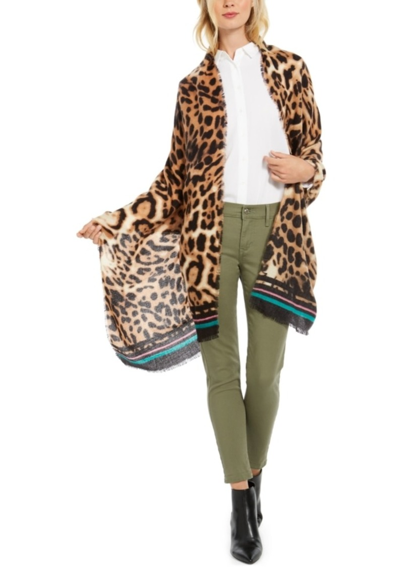 INC International Concepts Inc Animal-Print Wrap with Border Stripes, Created for Macy's