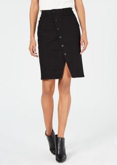 INC International Concepts Inc Asymmetrical-Button Curvy Jean Skirt, Created for Macy's