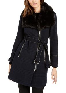 INC International Concepts I.n.c. Asymmetrical Faux-Fur-Collar Coat, Created for Macy's