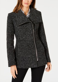 INC International Concepts I.n.c. Asymmetrical Faux-Leather-Trim Coat, Created for Macy's