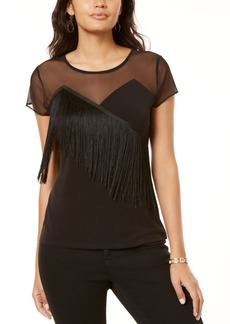 INC International Concepts Inc Asymmetrical Fringe Illusion Top, Created for Macy's