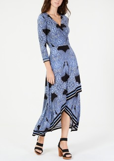 INC International Concepts I.n.c. Petite Asymmetrical-Hem Faux-Wrap Dress, Created for Macy's