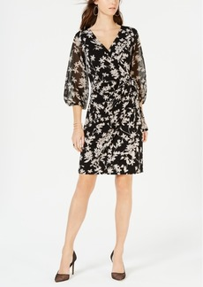 INC International Concepts I.n.c. Petite Balloon-Sleeve Faux-Wrap Dress, Created for Macy's