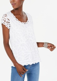 INC International Concepts I.n.c. Petite Cotton Lace Top, Created for Macy's