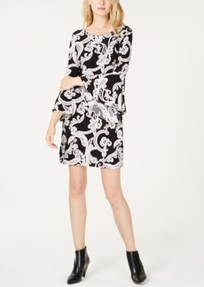 INC International Concepts I.n.c. Bell-Sleeve Printed Sheath Dress, Created for Macy's