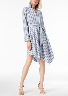 I.n.c. Petite Striped Asymmetrical-Hem Shirtdress, Created for Macy's