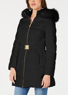 INC International Concepts I.n.c. Belted Faux-Fur Trim Hooded Puffer Coat, Created for Macy's