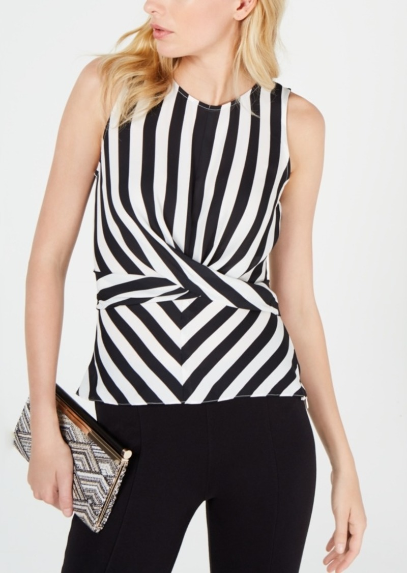 INC International Concepts Inc Black & White Twist-Front Top, Created for Macy's
