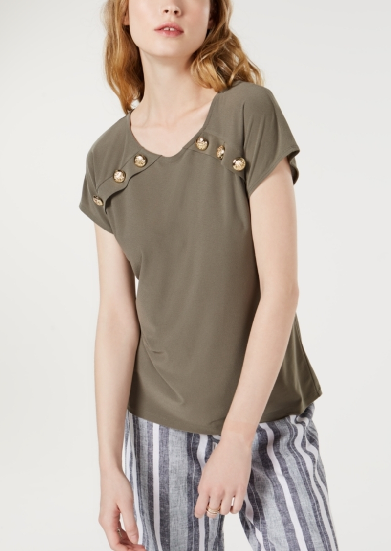 INC International Concepts Inc Button-Accent Top, Created for Macy's
