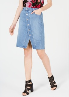 INC International Concepts Inc Button-Front Jean Skirt, Created for Macy's