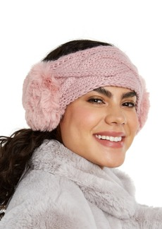 INC International Concepts Inc Cable-Knit Headwrap With Faux Fur, Created for Macy's