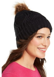 INC International Concepts Inc Cable-Shine Beanie with Faux-Fur Pom, Created for Macy's