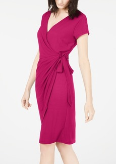 INC International Concepts Inc Cap-Sleeve Faux-Wrap Dress, Created for Macy's