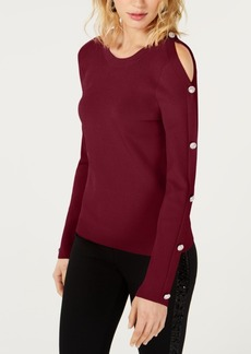 INC International Concepts I.n.c. Cold-Shoulder Button Sweater, Created for Macy's