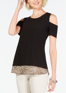 INC International Concepts I.n.c. Petite Cold-Shoulder Layered-Look Top, Created For Macy's