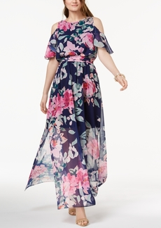 INC International Concepts I.n.c. Petite Printed Cold-Shoulder Maxi Dress, Created for Macy's